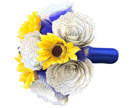 Book page and sunflower bouquet - Paper Bridal Bouquet