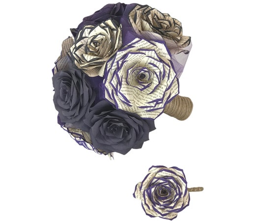 Book page and filter paper rose wedding bouquet shown in plum and purple - Colors are customizable