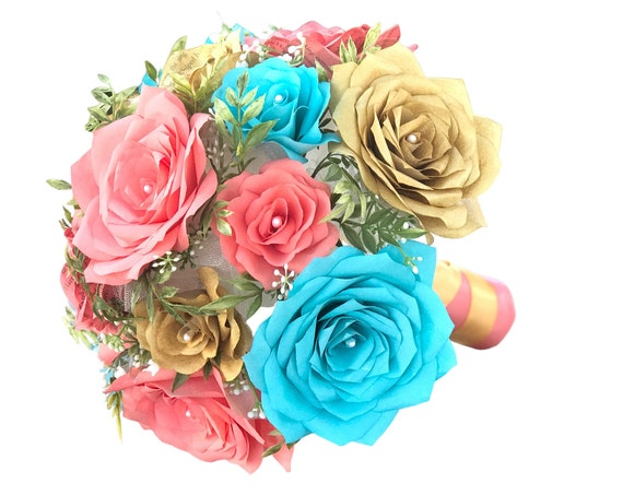Bridal Bouquet in Gold, Turquoise and Coral Paper Roses - Heirloom bouquet - Colors are Customizable