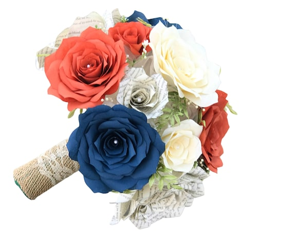 Bridal bouquet in burnt orange, navy blue, Ivory filter paper and book page paper flowers
