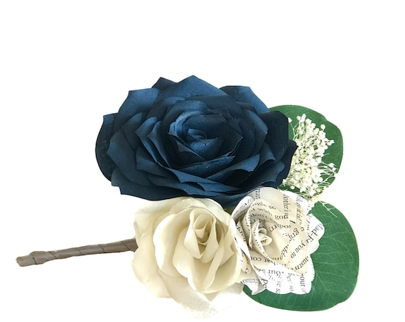 Navy and ivory paper flower boutonniere in customizable colors