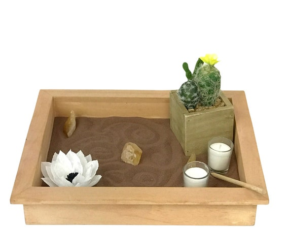Serenity tabletop garden - Quartz crystal meditation tray