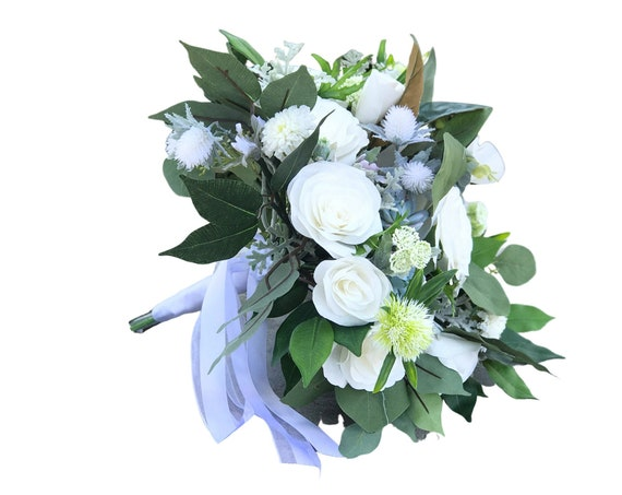 White paper flower bridal bouquet with silk greenery and accents