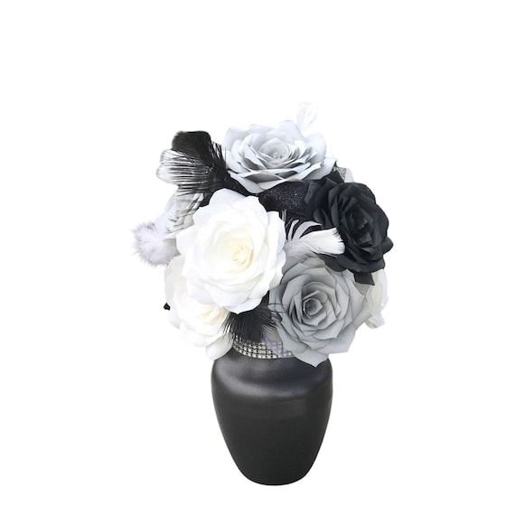 Centerpiece in Black, Gray & White Paper Roses - Reception Table Decor - Table Decor