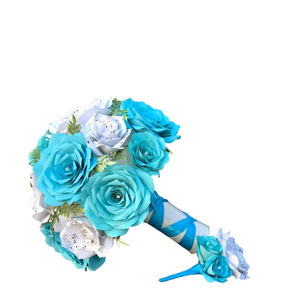 Bridal bouquet in paper filter flowers and music page roses - Colors are customizable