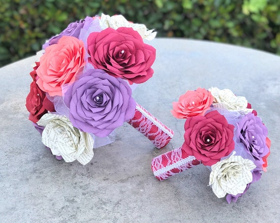 Book Page and Filter Paper Rose Bridal Bouquet - Color choices - Micro wedding