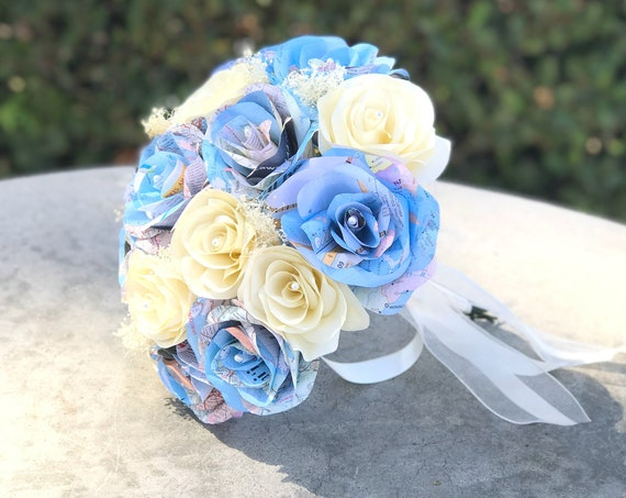Map paper bouquet with ivory filter flower accents - Customizable colors