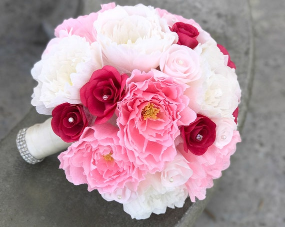 Wedding bouquet in Blush, Pink, Ivory and Fuschia Paper Peonies and Roses - customizable colors