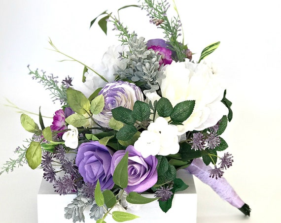 Silk and paper flower lavender wedding bouquet - Customizable colors