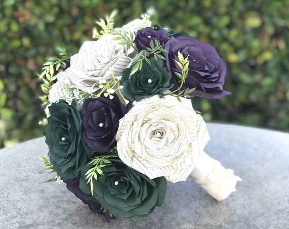 Wedding bouquet using paper filter flowers and book page roses - Colors are customizable