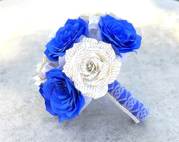 Book page & cobalt blue filter paper rose bouquet - Colors are customizable