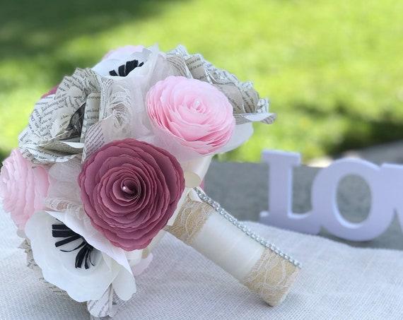 Paper flower alternative bridal bouquet - Customizable colors