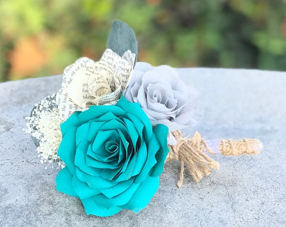 Teal paper boutonniere - Burlap twine and lace - Customizable colors