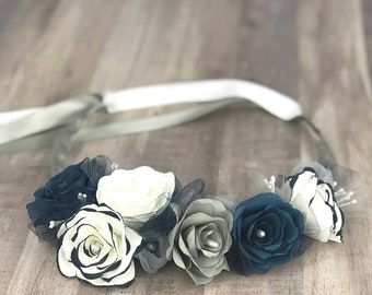 Floral Crown using Blue and Gray Paper Flowers