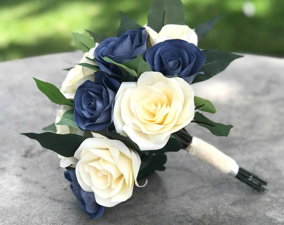 Bridal bouquet using paper filter flowers - Customizable colors