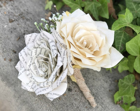 Corsage/Boutonniere in Champagne and Book Page Paper Roses - Colors can be customized