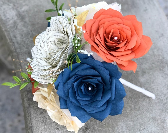 Paper Flower Bouquets for Table Centerpieces - Burnt Orange, Navy Blue, Champagne and Book Page Roses