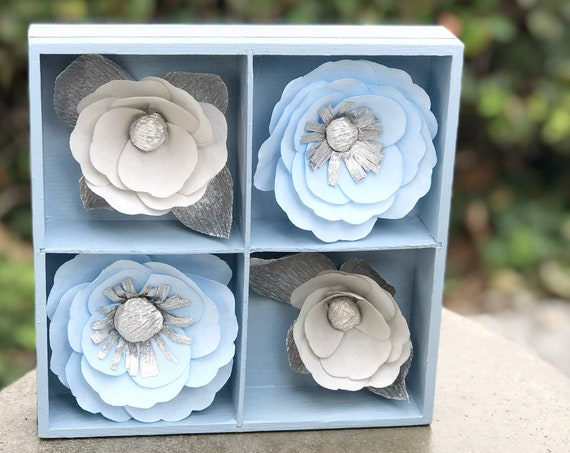 Blue and Silver 3D Paper Flower Wall Art - Customizable colors