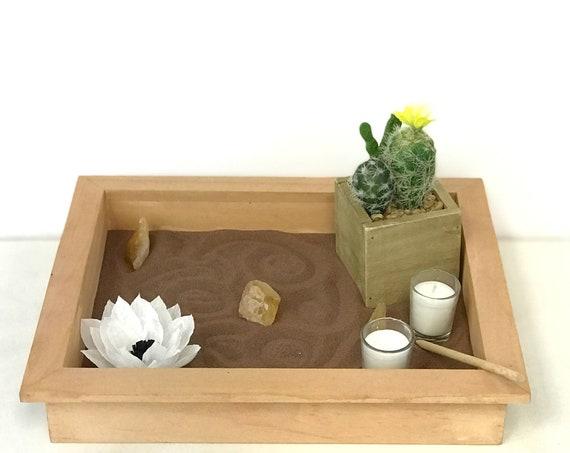 Serenity tabletop garden - Quartz crystal meditation tray