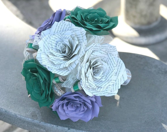 Paper book page wedding bouquet and filter paper roses - Colors are customizable