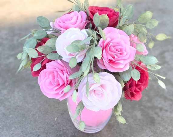 Pink & Red Paper Rose Gift Bouquet - A Dozen Roses