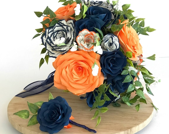 Navy blue and orange filter paper flowers with tipped book page rose bouquet - colors are customizable
