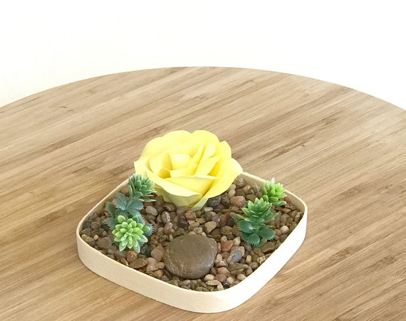 Tabletop garden - Mini Desktop rock garden - Customizable colors