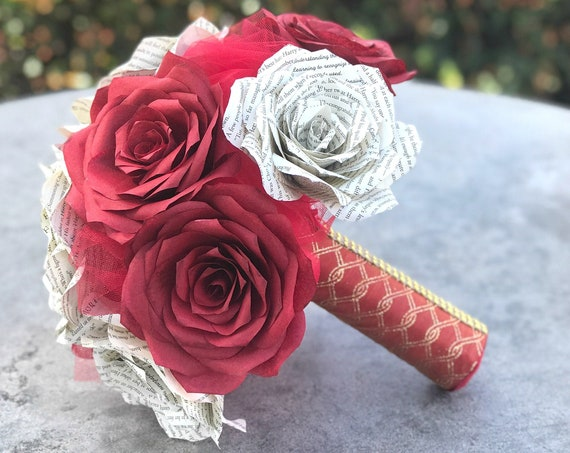 Book Page and red filter paper rose bridal bouquet - Colors are customizable
