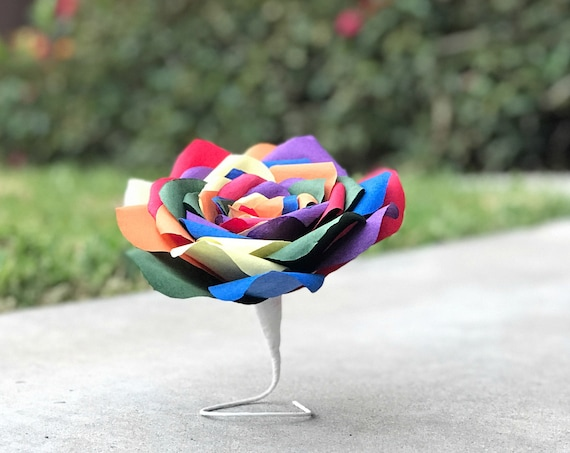 Rainbow paper rose - Coffee Filter flowers - Customizable colors