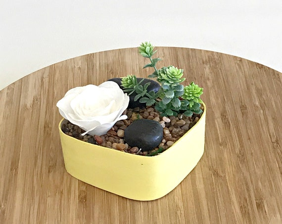 Desktop indoor table garden - Flower Terrarium - Choose box and flower colors