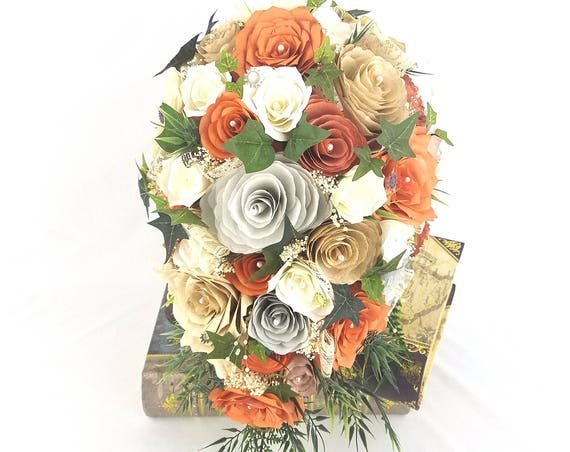 Cascading bridal bouquet - Burnt orange bouquet - Rustic bouquet - Paper flower bouquet - Steampunk bouquet - Keepsake bouquet -Country chic
