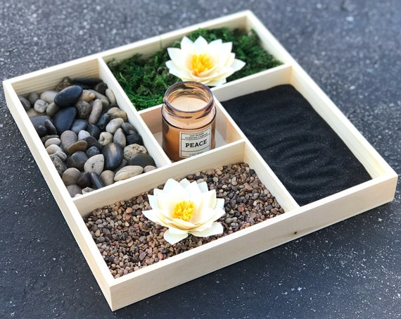 Relaxing indoor table top garden - Indoor mini lotus & rock garden - Serenity garden