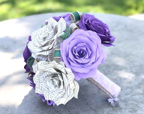 Paper book page wedding bouquet using handmade lavender & purple paper roses - Customizable colors