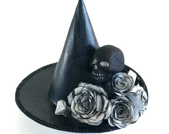 silver and black Halloween witch hat