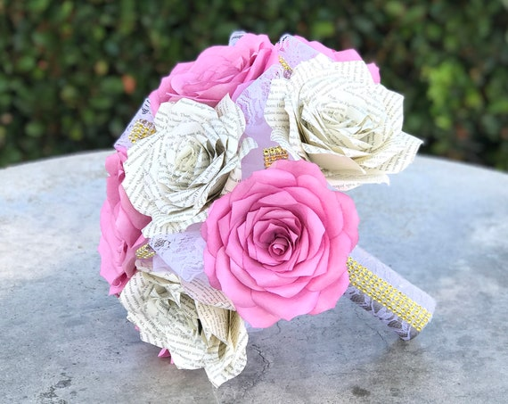 Paper book page and filter paper rose wedding bouquet - Colors are customizable - Handmade bouquets