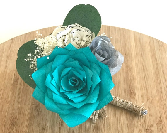 Teal Paper Flower Boutonniere - Wedding Rose Boutonniere - Customizable colors