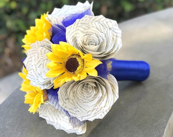 Book page rose and sunflower bouquet - Choose your ribbon color