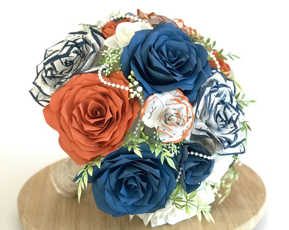 burnt orange and navy blue filter and music note paper flower bridal bouquet