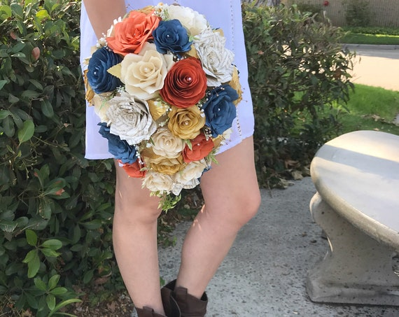Teardrop Bridal Bouquet shown in Burnt Orange, Navy Blue, Champagne, Gold filter and Book Page Paper flowers - Colors are Customizable
