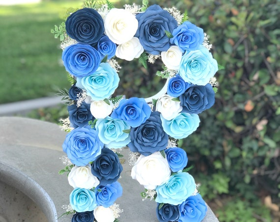 Paper Flower Letter or Number in Shades of Blue