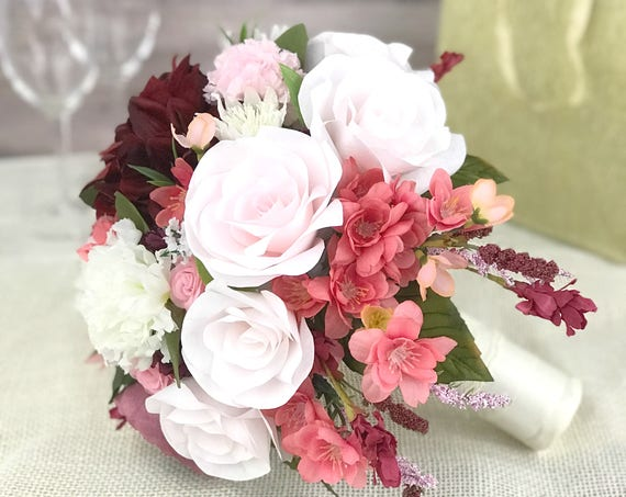 Wedding Bouquet in Berry and Blush Paper Roses with Silk Flower Accents - Cascading Bridal Bouquet