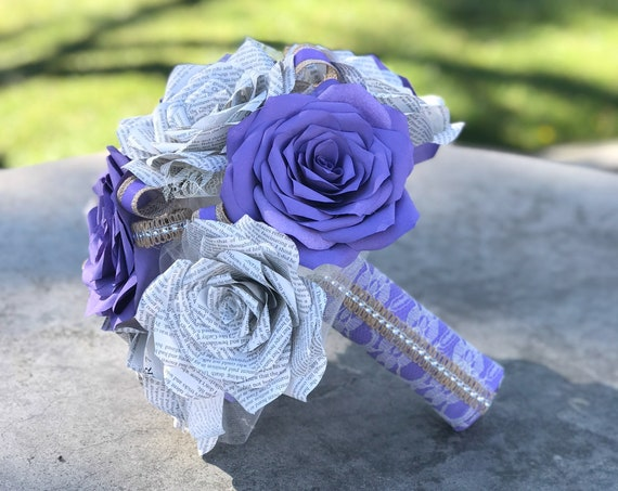 Paper book page wedding bouquet using handmade lavender filter paper roses - Customizable colors