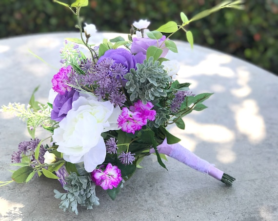Silk and paper flower lavender wedding bouquet