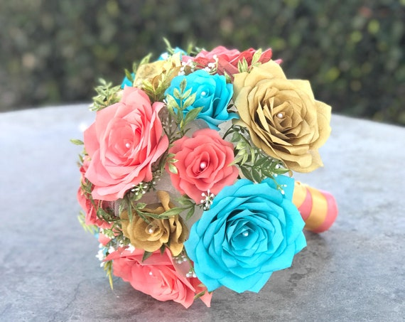 Bridal Bouquet shown Gold, Turquoise and Coral Paper Roses - Colors are Customizable