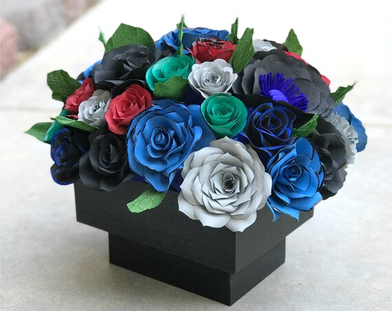 Centerpiece in Black, Blue, Red, Gray and Green Handcrafted Paper Flowers - Customizable colors