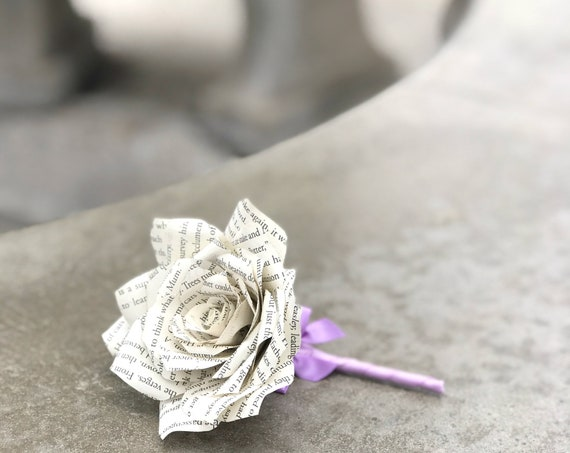Book Page Paper Rose Boutonniere - Wedding Boutonniere - Customizable colors