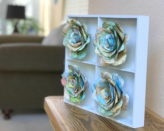 Map Flower Art - Map Paper Rose Decor