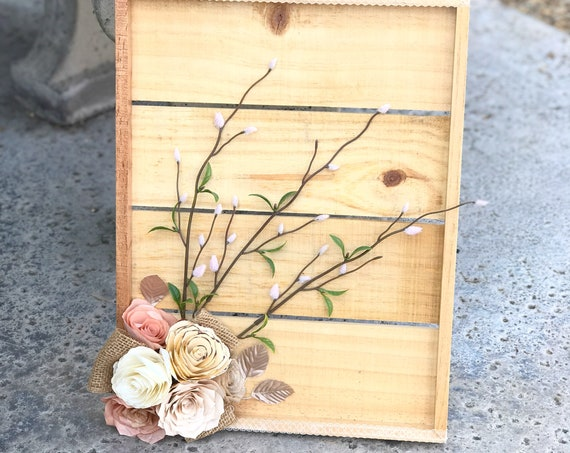 Paper Flower Wall Decor in Champagne, Rose Gold and Ivory - Farmhouse Theme Decor