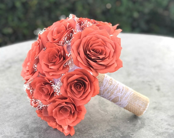 Rustic wedding bouquet shown in burnt orange paper roses - Country Chic Bouquet - Customizable colors