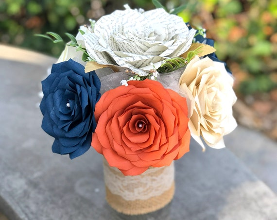 Floral arrangement in Burnt Orange, Navy Blue, Champagne and Book Page Paper Roses - Colors are Customizable